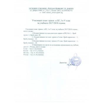 Училищен план прием в ПГ , 1 и 4 клас за учебната 2017/2018 година